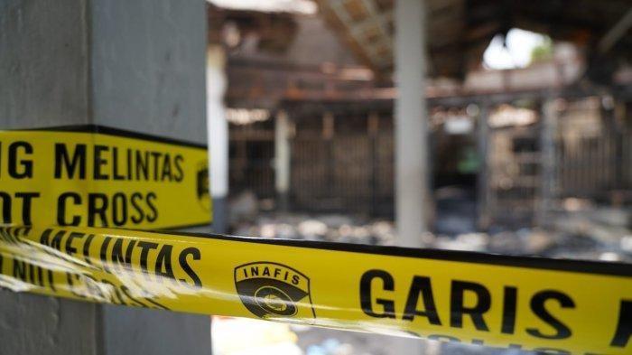 Garis polisi di lokasi musibah kebakaran maut di Lapas Kelas I Tangerang, Rabu (8/9/2021).