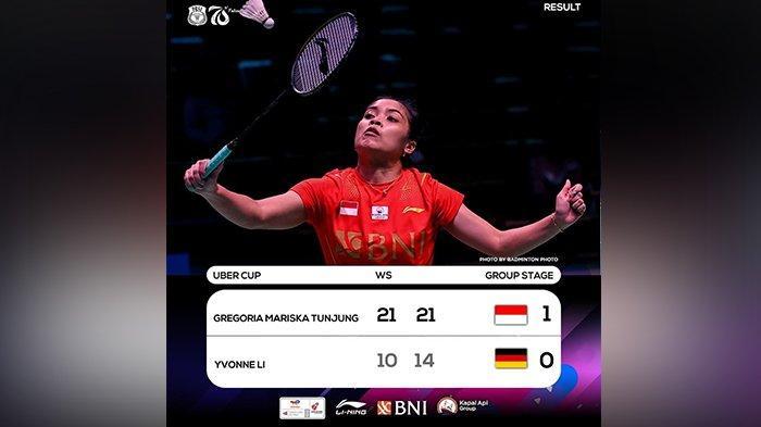 Hasil Piala Uber Cup Indonesia vs Jerman, Gregoria Mariska Bawa Indonesia Unggul 1-0