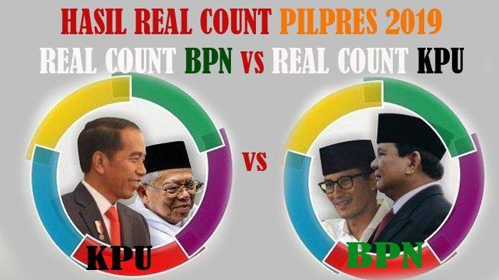 BANDINGKAN Hasil Real Count Pilpres 2019 Antara KPU vs BPN, KPU=Jokowi Menang BPN=Prabowo MENANG
