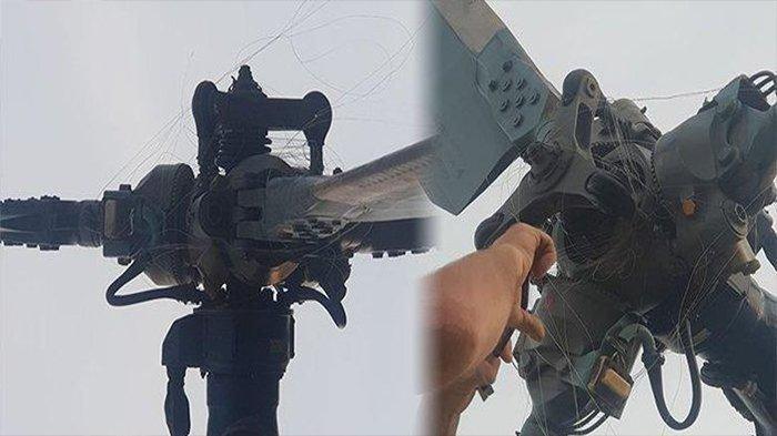 Proses Pemadaman Karhutla, Helikopter Pengangkut Air Dililit Tali Kawat Layang yang Sedang Terbang