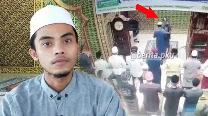 Imam masjid di Pekanbaru ditampar olehseorang lelaki tak dikenal saat sedang memimpin Salat Subuh berjamaah, Jumat (7/5/2021).