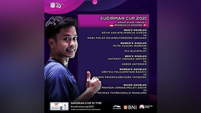 Live Streaming Sudirman Cup 2021, Penentuan Juara Grup C, Kevin/Marcus, Anthony Ginting Main