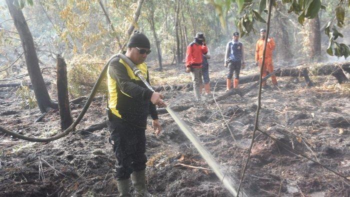 Kabut Asap di Pelalawan Selimuti Ibukota Kabupaten, Karhutla di Pelalawan Meluas. Foto: Petugas melakukan pemadaman api dalam Karhutla di Pelalawan