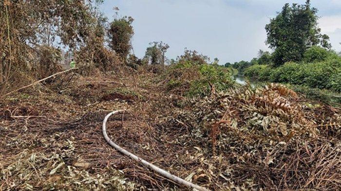 Kanal sumber air untuk memadamkan Karhutla di Kecamatan Bantan Bengkalis.