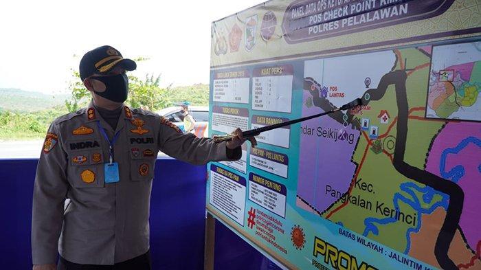 Tiga Hari Setelah Sertijab, Kapolres Indra Tinjau Tiga Pospam Check Point PSBB di Pelalawan Riau