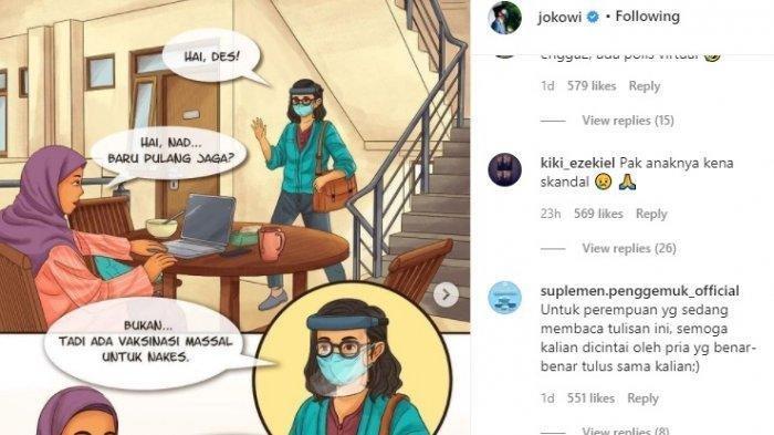 Masih Heboh Kaesang-Nadya-Felicia,Jokowi Unggah Kartun Sosialisasi Vaksin dengan Tokoh 'NAD' di IG