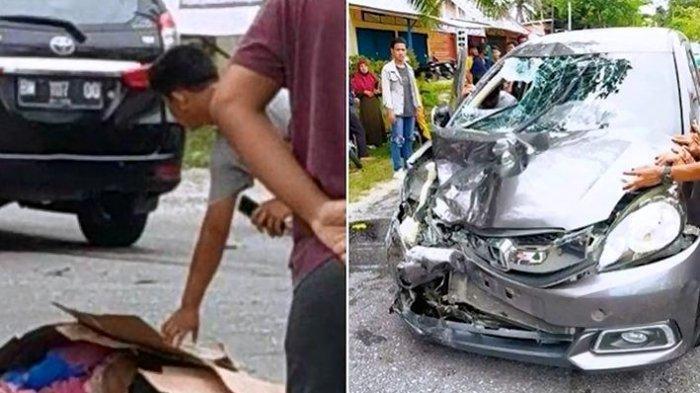 Kecelakaan beruntun yang menewaskan ibu dan anak di Bangkinang, Kampar, Riau, Jumat (2/4/2021)