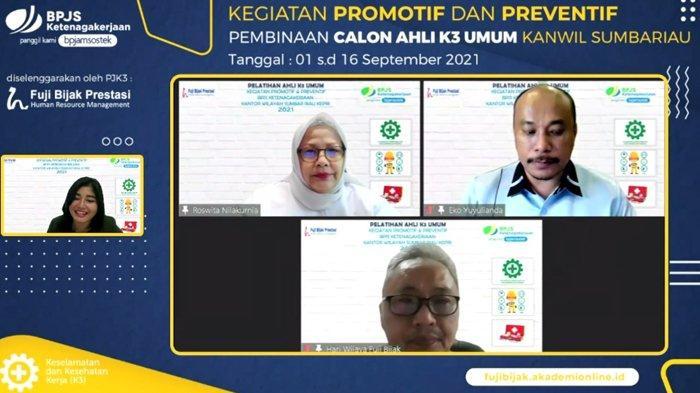 Kegiatan Promotif dan Preventif BPJS Ketenagakerjaan Kanwil Sumbar-Riau-Kepri Tahun 2021. Foto: Pelatihan Ahli K3 Umum yang Diikuti 23 Peserta Secara Daring