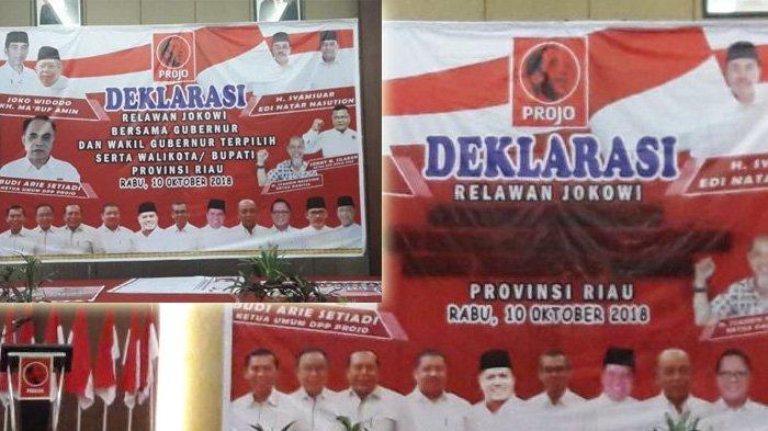 Acara Deklarasi Relawan Jokowi di Riau, Tulisan Kepala Daerah di Panggung Mendadak Lenyap