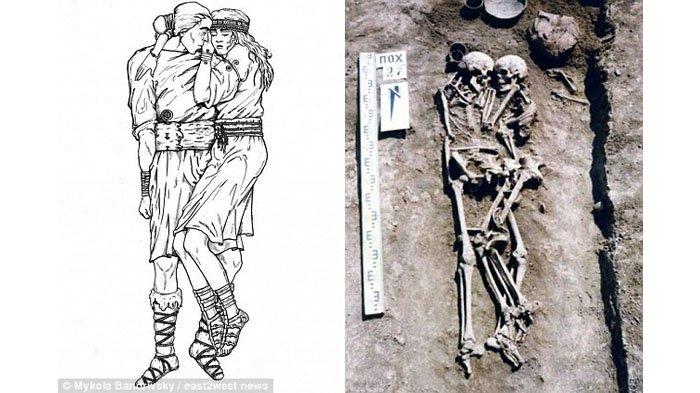 Istri Rela Dikubur Hidup-hidup Bersama Jasad Suami, Kerangka Mereka Berpelukan 3000 Tahun