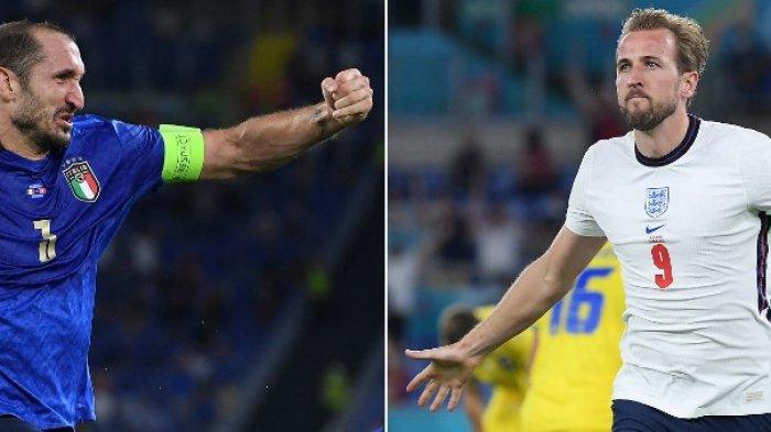 Kolase Giorgio Chiellini (kiri) di Roma pada 16 Juni 2021 dan penyerang dan kapten Inggris Harry Kane di Roma pada 3 Juli 2021. Inggris menghadapi Italia dalam pertandingan final sepak bola UEFA Euro 2020 di Stadion Wembley di London pada 11 Juli 2021.