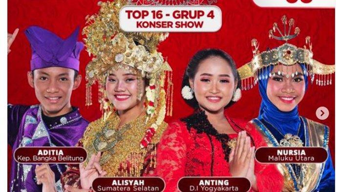 Konser Show LIDA 2021 Malam Ini, TOP 16 Grup 3, Aditia, Alisyah, Anting dan Nursia Tampil