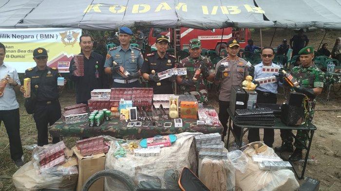 KPPBC Dumai Musnahkan Barang Ilegal Hasil Penindakan Senilai Rp2,5 Miliar