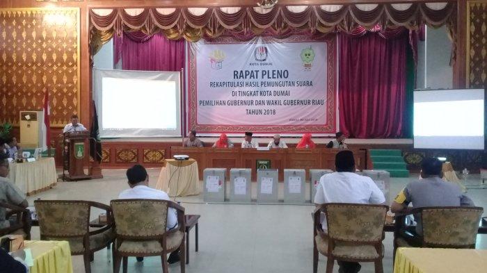 Pleno KPU Dumai Syamsuar-Edy Nasution Dominasi Perolehan Suara Pilgubri di 7 Kecamatan