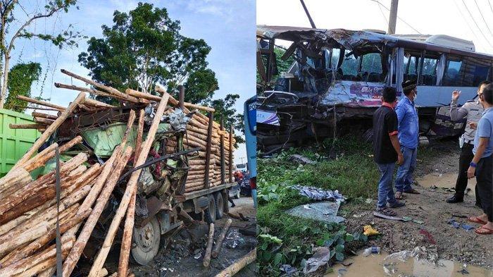 Kronologi Laka Maut Bus Karyawan vs Truk Balak di Pangkalan Kerinci, 1 Tewas dan 12 Orang Luka-luka