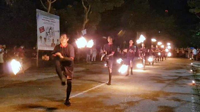 Tari Api Jadi Daya Pikat di Festival Lampu Colok Meranti,Aneka Bentuk Unik dari Susunan Ribuan Lampu