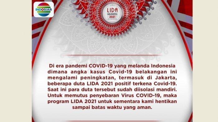 LIDA 2021 Indosiar Dihentikan Sementara, Ada Duta LIDA yang Positif Covid-19