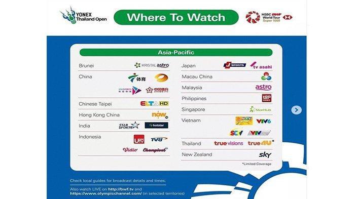Live Thailand Open I 2021 Disiarkan langsung Televisi dan Melalui Live Streaming