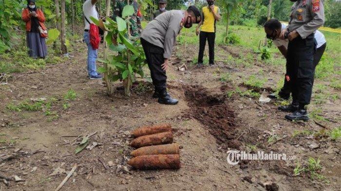 Lokasi penemuan mortir di ladang warga Desa Ngrukem, Kecamatan Mlarak, Kabupaten Ponorogo, Senin (1/3/2021).