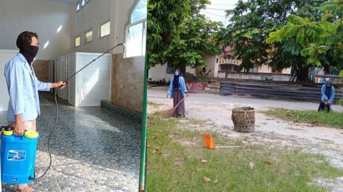 Mahasiswa Kukerta Relawan Covid-19 UNRI Gelar Gotongroyong dan Penyemprotan Disinfektan di Masjid