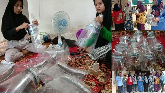 Mahasiswi Buat Face Shield, Bagikan kepada Staff Kelurahan Saat Kukerta Relawan Covid-19 UNRI