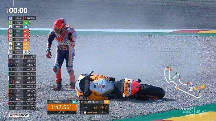Marc Marquez Kecelakaan, Quartararo Tercepat, Ini Hasil Lengkap FP3 MotoGP Aragon 2021