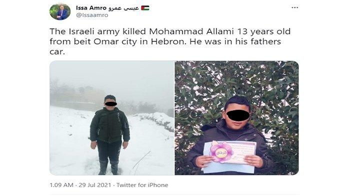 Tentara Israel Tembak Mati Seorang Bocah Palestina di Tepi Barat, Peluru Menembus Dadanya