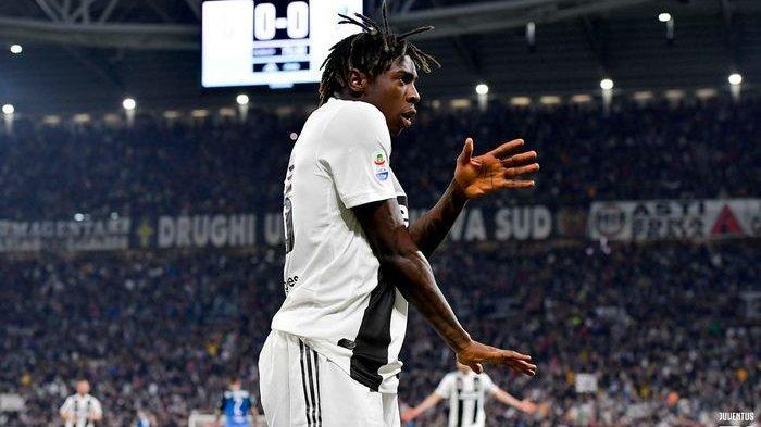 Penyerang muda Juventus, Moise Kean, mencetak gol dalam giornata ke-29 melawan Empoli di Stadion Allianz, Turin, 30 Maret 2019.