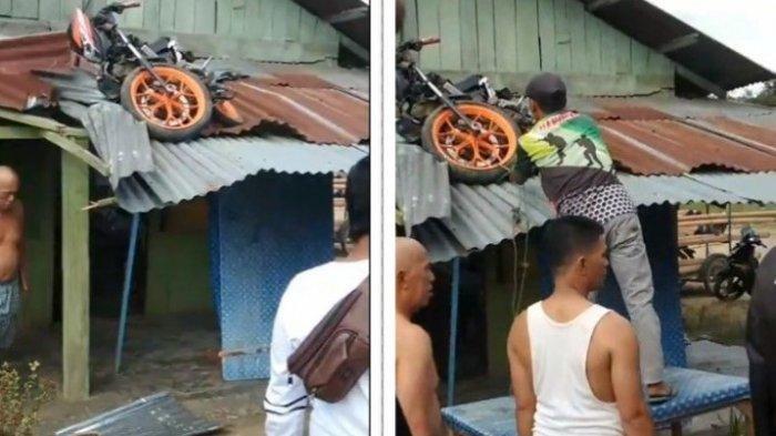 AJIB, Saking Kerasnya Tabrakan dengan Becak, Motor Sonic Ini Nyungsep di Atap Rumah Makan