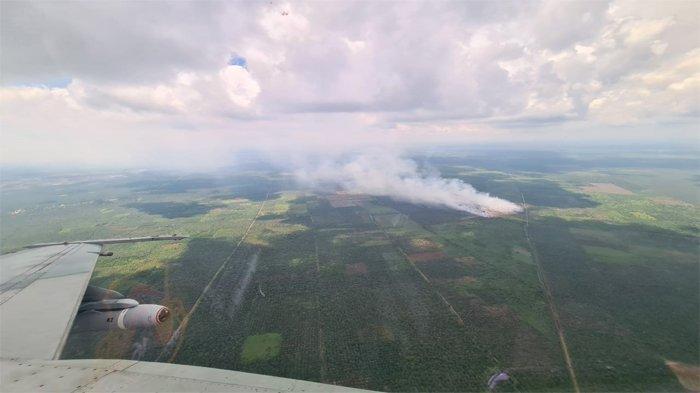 Pesawat tempur F-16 Lanud Roesmin Nurjadin Pekanbaru, melakukan patroli udara kebakaran hutan dan lahan (Karhutla) di Riau
