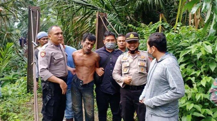 Pelaku pembunuhan anak Rg (9) dan pemerkosa ibunya, Minggu (11/10/2020) pagi ini berhasil ditangkap tim gabungan Polres Langsa di tempat persembunyiannya