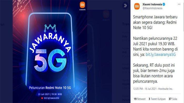 Peluncuran Redmi Note 10 5G yang diumumkan oleh Xiaomi Indonesia di akun media sosial mereka.