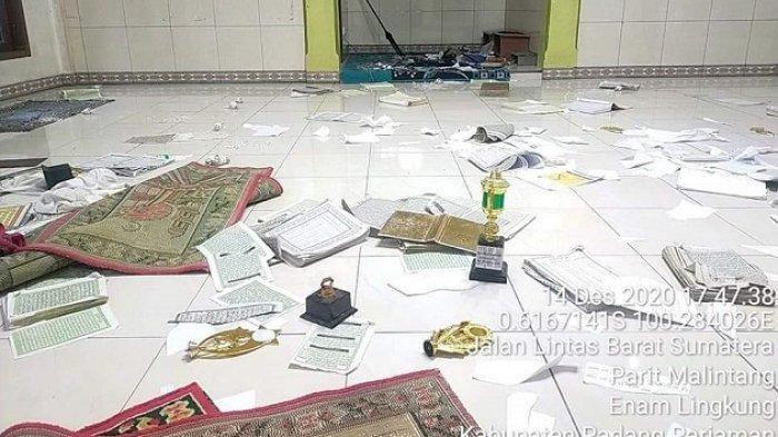 Surau di Pariaman Diacak-acak Orang Tak Dikenal, Al Quran Dirusak dan Bertebaran di Lantai