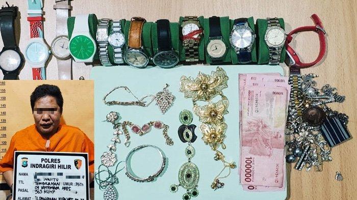 Pencurian di Inhil Terekam CCTV, Pelaku Gasak Ratusan Juta Rupiah dari Rumah Mewah