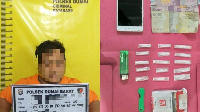 Pengedar Narkoba Diringkus di Satu Hotel Kota Dumai, Ini Barang Bukti yang Diamankan