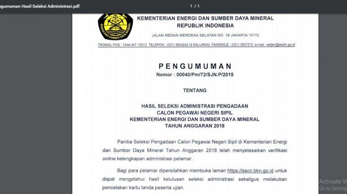 Hasil Tes Administrasi CPNS 2018 Kementerian ESDM: Ini Link Pengumumannya