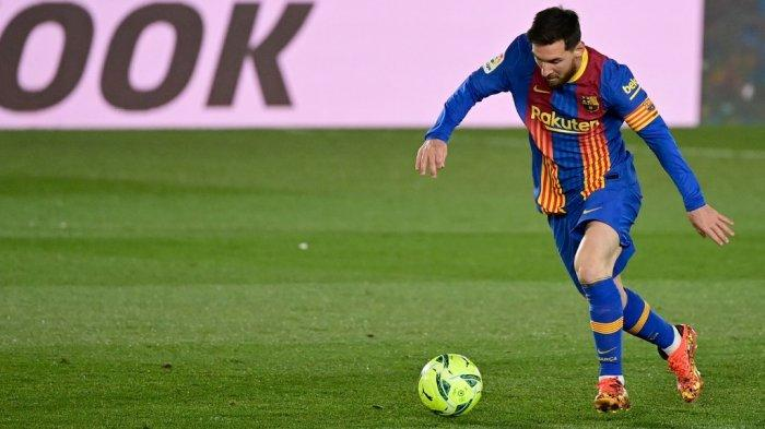 Penyerang Barcelona Lionel Messi selama pertandingan sepak bola Liga Spanyol