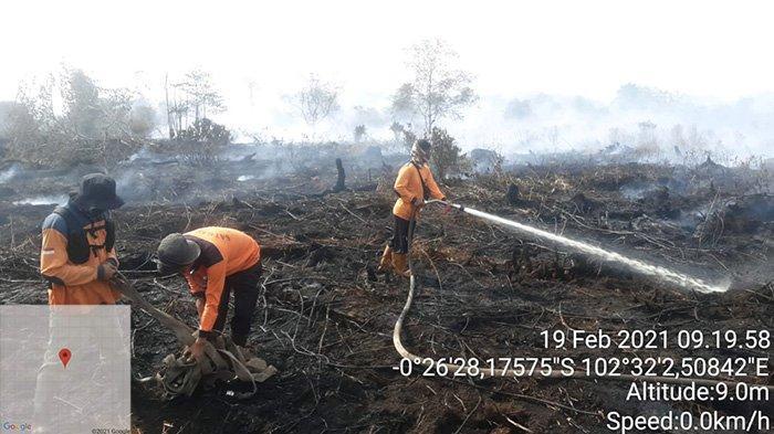 Tiga Hari Petugas Berjibaku Padamkan Lahan Terbakar, Titik Api Sudah Muncul di Inhu Riau