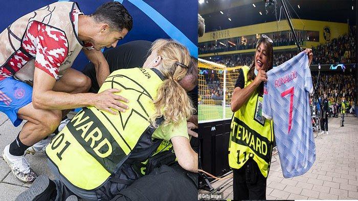 Sepakan Cristiano Ronaldo Buat Petugas Wanita Ini KO, Sang Bintang Kemudian Berikan Kaosnya
