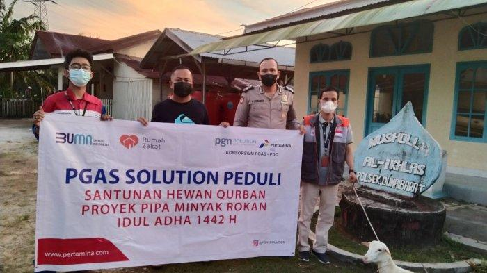 PGAS Solution Project Rokan Salurkan Bantuan 12 Ekor Hewan Qurban