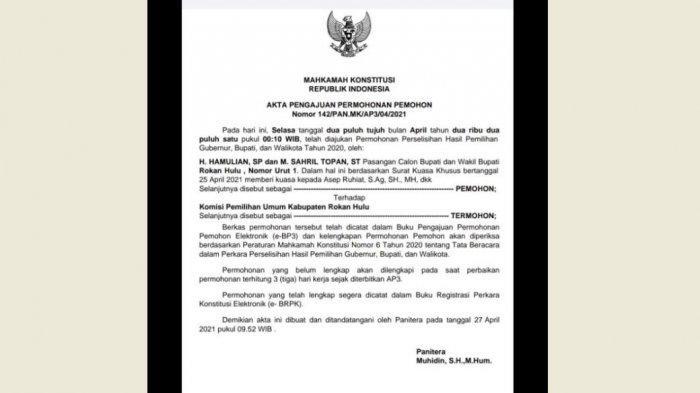 Pilkada Rohul Belum Usai, Hartop Gugat MK Minta Diskualifikasi Sukawan dan Hafith Syukri-Erizal