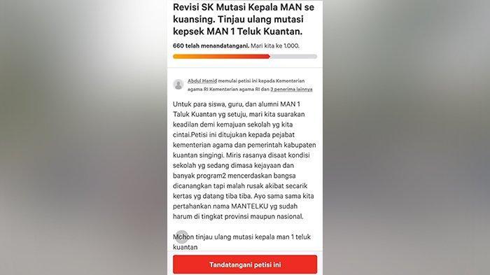 'Please Tinjau Ulang Pak,' Petisi Online Mutasi Kepsek MAN 1 Teluk Kuantan Riau Muncul di Internet