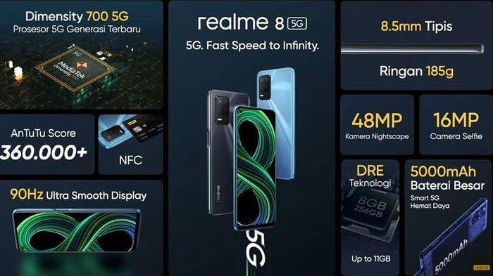Ponsel Realme 8 5G saat ini merupakan smartphone berteknologi jaringan 5G paling murah di Indonesia.