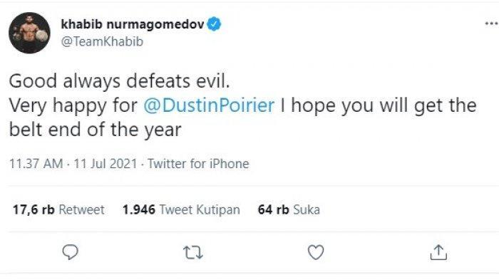 Postingan Khabib Nurmagomedov usai melihat kekalahan Conor McGregor dari Dustin Poirier di UFC 264