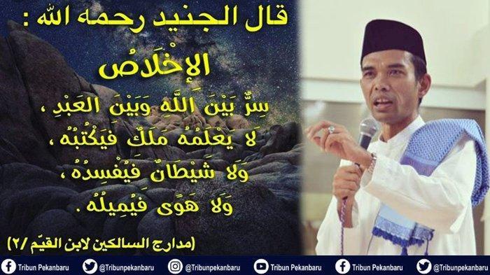 POSTINGAN Terbaru Ustadz Abdul Somad di Akun Instagram Barunya, Jelaskan Tentang Ikhlas dan Setan