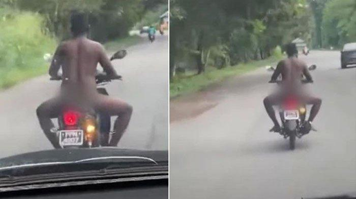 Putus Urat Malu, Pria Ini Kendarai Sepeda Motor tanpa Busana, Bikin Syok Pengendara Lainnya