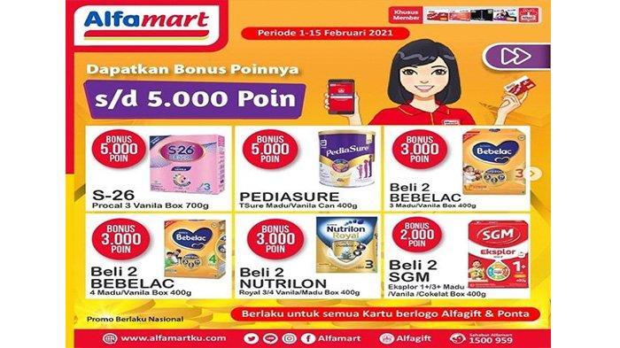 Promo Alfamart ragam susu bayi mendapatkan bonus poin khusus member Alfamart, untuk kartu berlogo alfagift dan ponta.