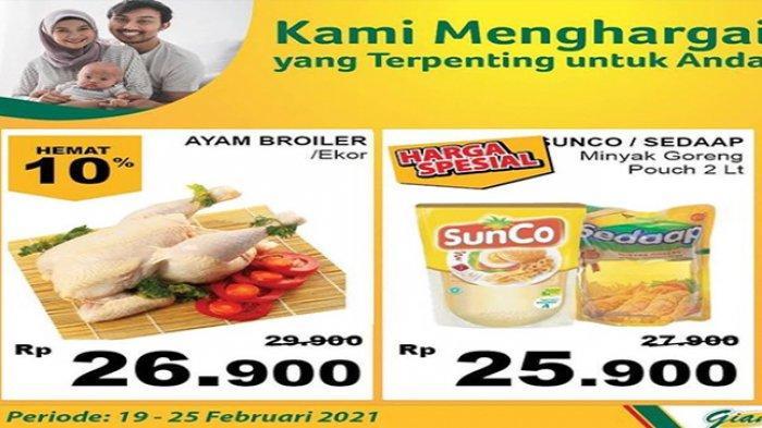 Promo Giant hari ini harga minyak goreng murah merek Sunco, dan ayam potong.