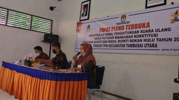 Skawan Menang Telak,Hasil Sementara Rekapitulasi Kecamatan PSU Rohul,Ini Rincian Suara Tiap Paslon