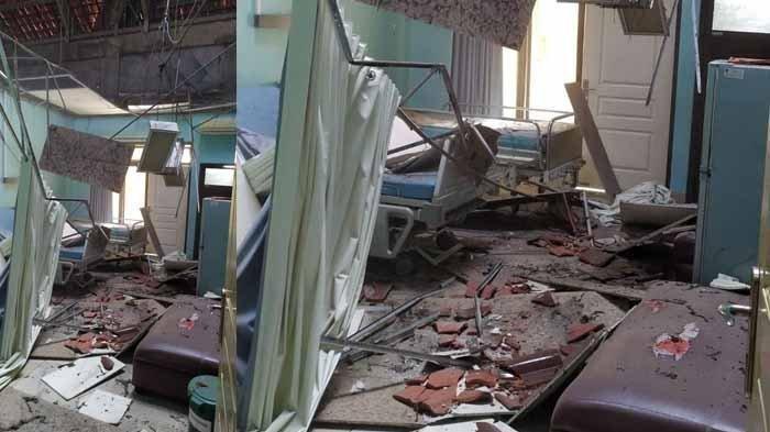 Sejumlah atap ruangan di Rumah Sakit Umum Daerah (RSUD) Mardi Waluyo Kota Blitar, Jawa Timur mengalami kerusakan akibat gempa bumi yang terjadi pada Sabtu (10/4/2021).